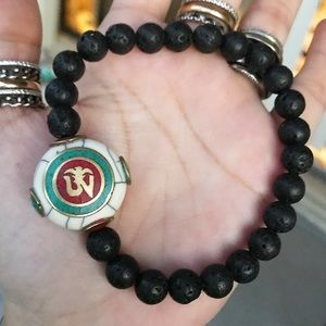Nepal tibetan om sign charm lava rock men bracelet